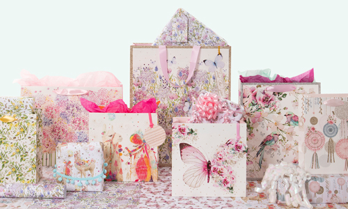 An arrangement of floral patterned gift bags.