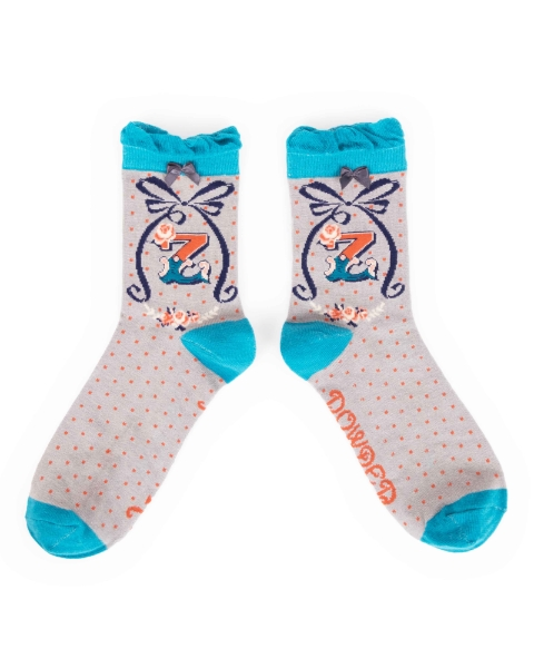 Ankle Bamboo Socks A-Z Alphabet Socks by Powder Letter P
