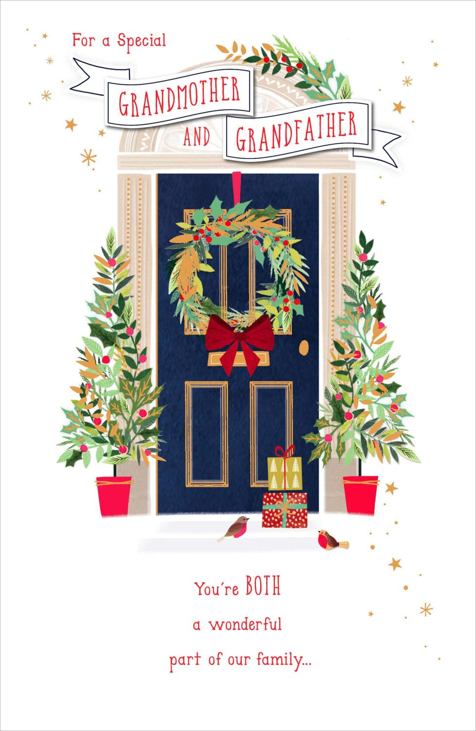 Christmas Card Grandparents Choose Your Own Multi Caption Door With Christmas Wreath Highworth Emporium