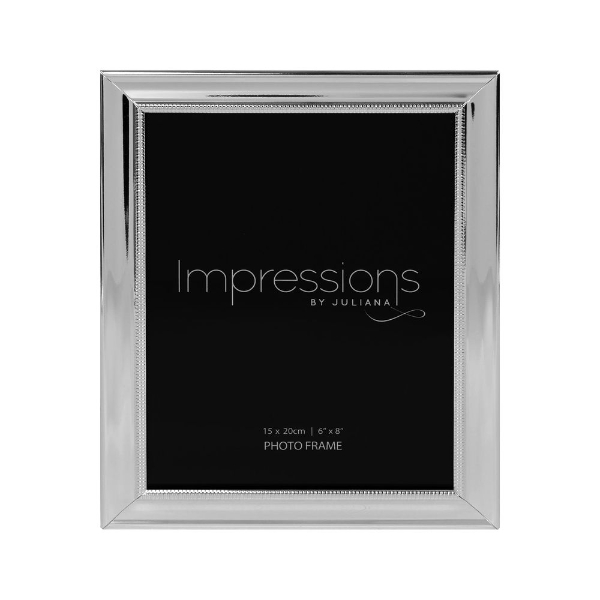 """Impressions Silverplated Beaded Edge Design 6/"""" x 8/"""" Photo Frame"""